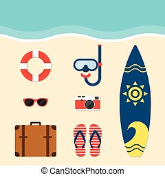 Summer elements flat design vector illustration