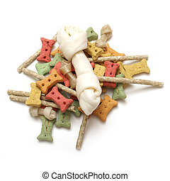 Dog Treats - An isolated group of various dog treats.