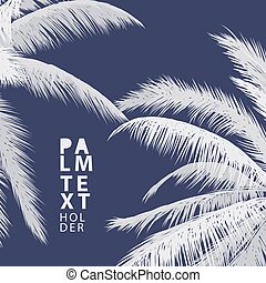 Palm vector background - Palm summer vector background with...