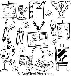 Education suplies doodles school collection