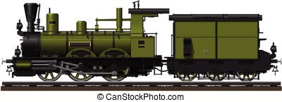 The old green steam locomotive with tender