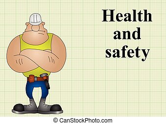 Construction health and safety on graph paper background...