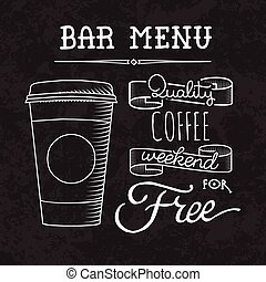 Bar menu of coffee proposal - Sketch coffee and drinks...