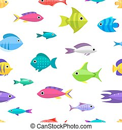 Cartoon fish collection seamless pattern - Fish collection...