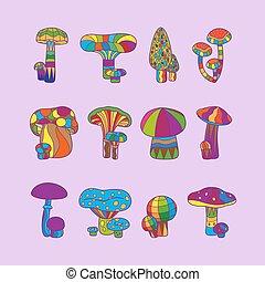 Psychedelic mushrooms or hallucinogenic fungus vector...