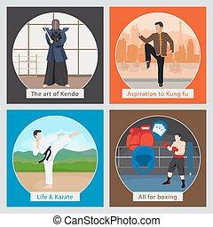 Martial arts vector illustration - MMA or mixed martial arts...