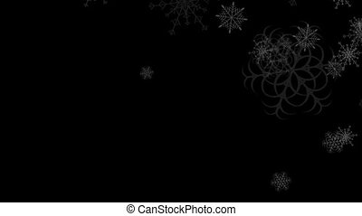 Abstract black falling snowflakes video animation - Abstract...