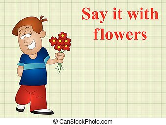 Say it with flowers on graph paper background with copy...