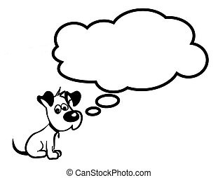 Sad puppy - Vector image of sad puppy with cloud fully...