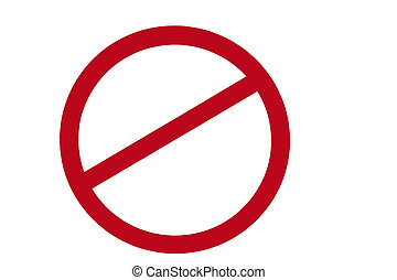 red banned sign with clipping path at this size