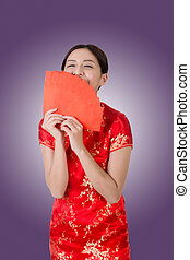 woman in traditional cheongsam - Chinese woman in...