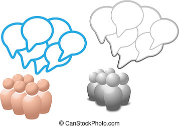 Speech bubbles symbol people talk social media
