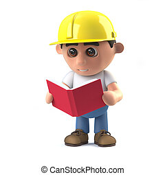 3d Construction worker reading a book - 3d render of a...
