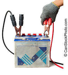 jumper cable - car battery with jumper cable isolated on...