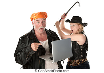 Woman with crowbar threatening man with laptop computer