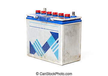 car battery - closeup old car battery on white background