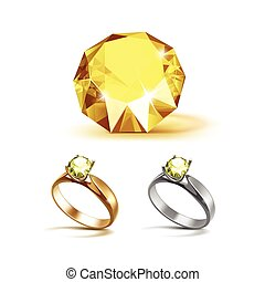 Gold and Siver Engagement Rings with Yellow Shiny Clear...