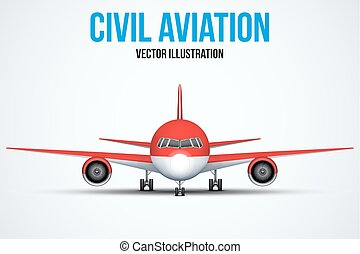 Civil Aircraft standing on the chassis - Front view of Civil...