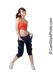 athlete girl - Portrait of athlete girl posing and standing...