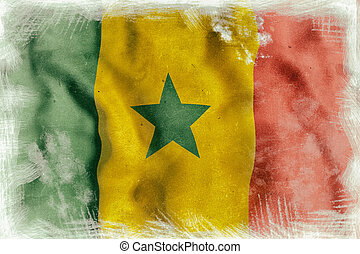 Senegal flag waving - 3d rendering of an old and dirty...