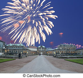 Zwinger Palace Der Dresdner Zwinger and holiday fireworks,...