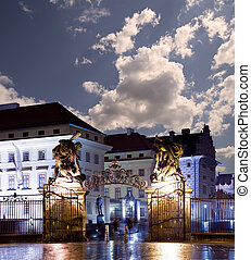 Matthias Gate, at Hradcany Castle Prague at night, Czech...