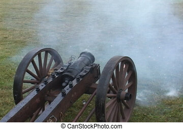 Three Cannons Firing w/good ambient - Three different 19th...