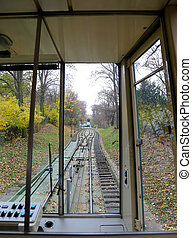 Historical funicular to Petrin Hill established 1891. A...