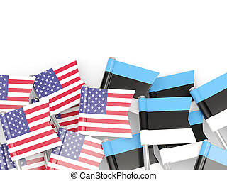 Flags of USA and Estonia isolated on white 3D illustration