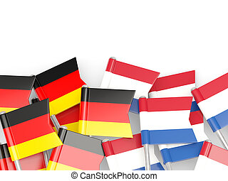 Flags of Germany and Netherlands isolated on white 3D...