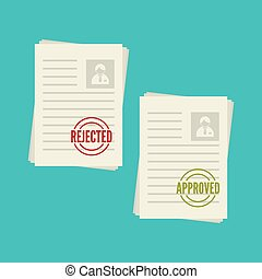 Pack sheets paper with stamp of rejected, approval. Summary...