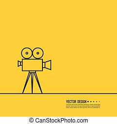Movie projector vector illustration. Cinematic camera....
