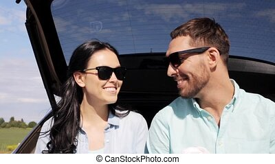 happy couple with coffee at hatchback car trunk 8 - travel,...