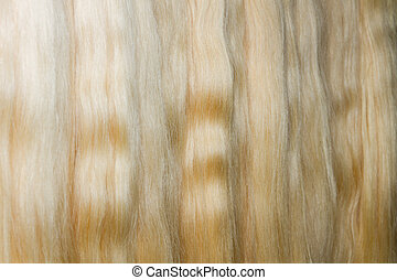 Long woman chignon - Line of long blond chignons. Hair...