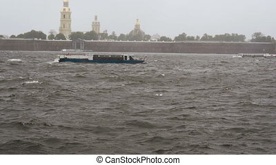 Storm on the Neva River in St. Petersburg - Ships are...