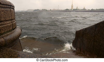 Waves hitting about quay - Storm on the Neva River in St....