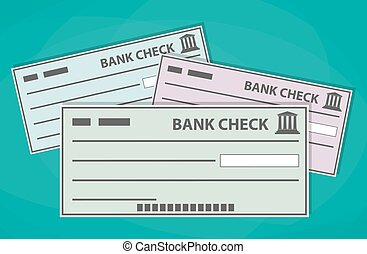 Blank bank checks isolated on green background