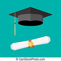 paper diploma with stamp and graduation cap