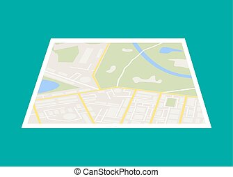 City Map With Marker, Vector Icon - Abstract generic city...
