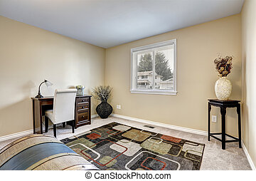 Home office interior decorated with dry bushes. Soft creamy...