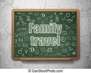 Travel concept: Family Travel on School board background -...