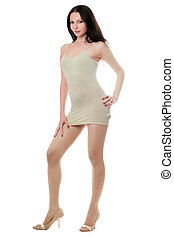 Young brunette in dress - Young brunette posing in...