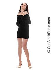 Attractive brunette in dress