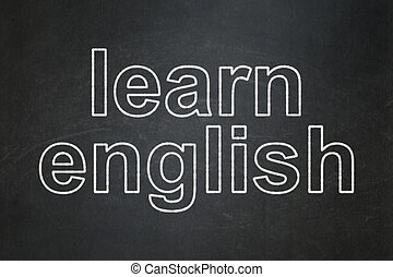 Education concept: Learn English on chalkboard background