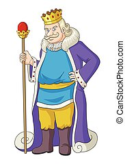 King Cartoon - Cartoon illustration of an old king holding a...