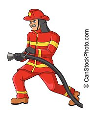 Fire Fighter - Cartoon illustration of a senior firefighter