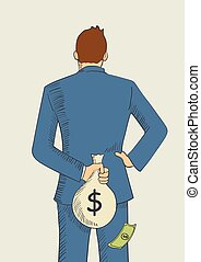 Tax Evasion Concept - Cartoon illustration of a man hiding a...