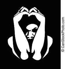Phobia - Black and white illustration of a man covering his...