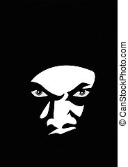 Scary Face - Black and white illustration of a man face...