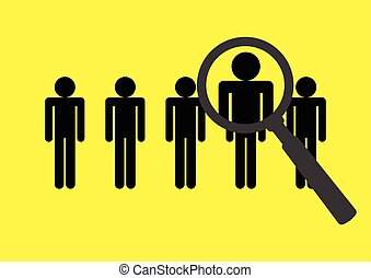 Headhunter Icon - Magnifying glass searching on stick...